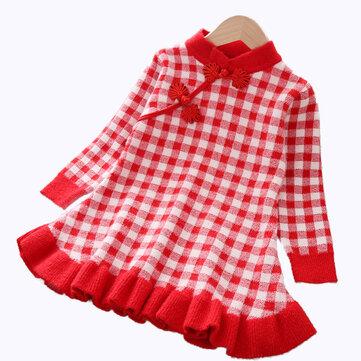 Vestito da maglione a pieghe scozzese da ragazza per 1-7 anni