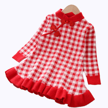 Girl's Plaid Pleated Sweater Dress For 1-7Y