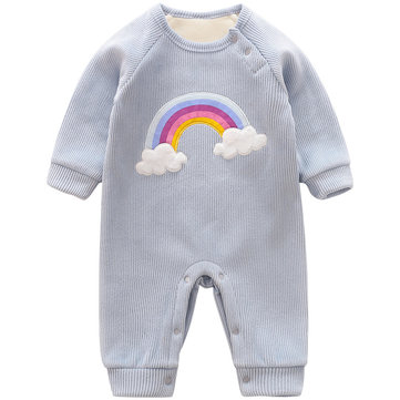 Baby Rainbow Corduroy Thicken Rompers For 0-24M