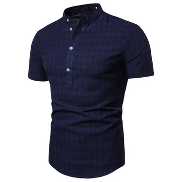 Foreign Trade Men's Summer New Plaid Casual Pullover Shirt Trend Men's Short-sleeved Shirt 9715