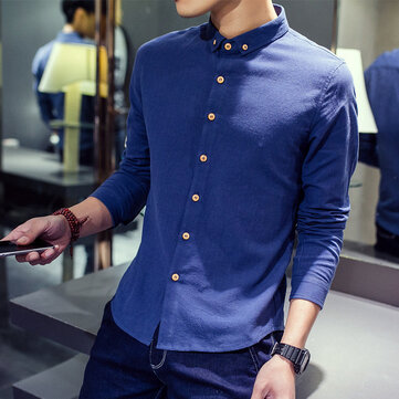 Taobao New Men's Long-sleeved Slim Youth Cotton Shirt Men's Retro Spring Linen New Shirt