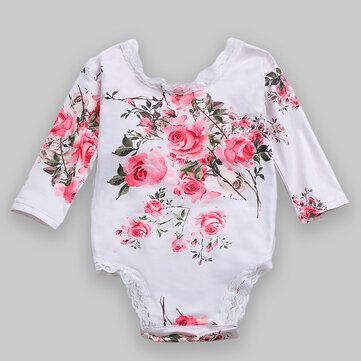 Baby Lace Patchwork Flower Rompers For 6-24M
