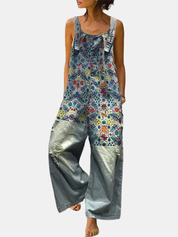 Floral Patchwork Ripped Denim Jumpsuit