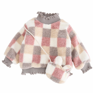 2PCs Girl Plaid Thicken Turtleneck Sweater For 1-7Y