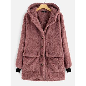 Fleece Button Hooded Coat, White