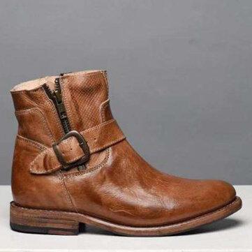 Buckle Zipper Cowbooy Western Stiefel