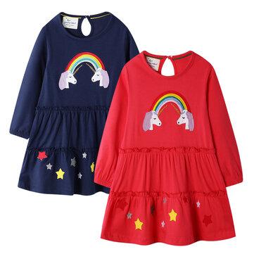 Mädchen Einhorn Print Kleid für 1-9Y