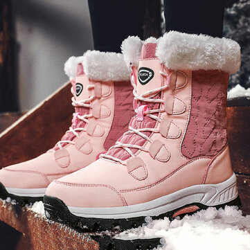 Waterproof Cloth Splicing Mid Calf Snow Boots