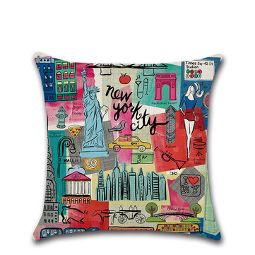 Creative Cartoon Graffiti City View Linen Cushion Cover