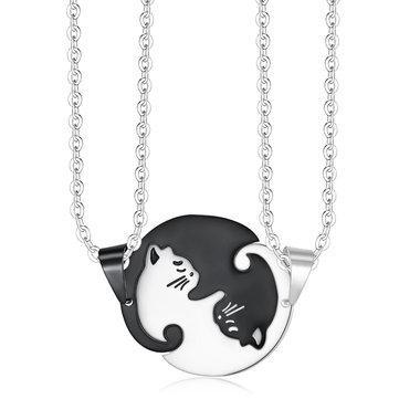 Cat Pendant Puzzle Couple Necklace