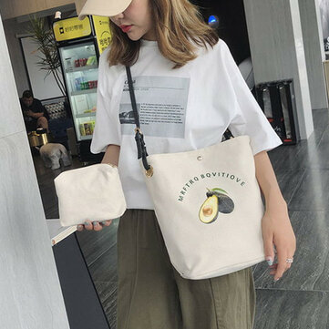 Literary Canvas Bag Female Japan Ins Bag Two-piece Bucket Bag Casual Shoulder Bag Female Messenger Bag