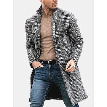 Мужское теплое однобортное пальто
