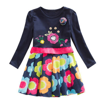 Girl's Pleated Flower Embroidery Dress For 2-9Y