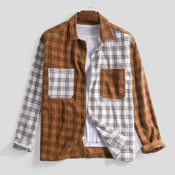 Mens Corduroy Patchwork Shirts