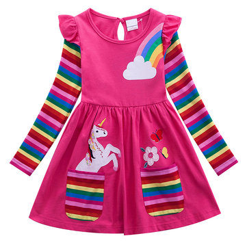 Girls Unicorn Rainbow Casual Dress For 2-9Y