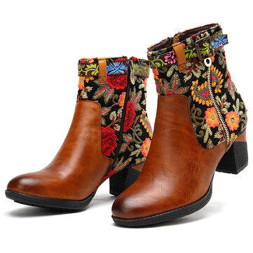 Embroidered Pattern Stitching Ankle Boots