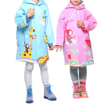 Toddler Cartoon Colorful Thicken Raincoat For 3-15Y