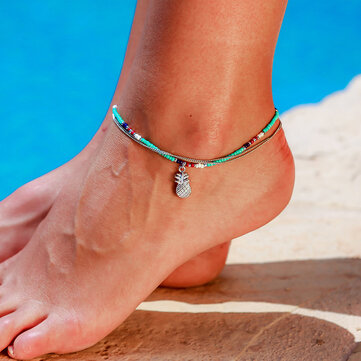 Bohemian Blue Beaded Double-layer Anklet