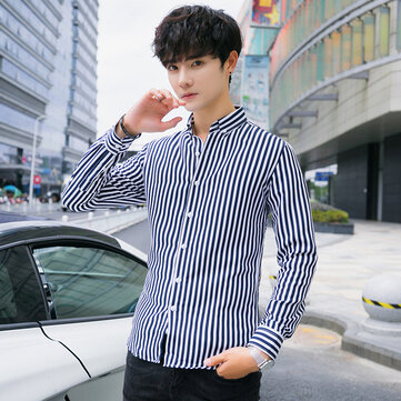 2019 Autumn And Winter Men's Shirt Korean Version Of The Self-cultivation Youth Lapel Stripes Trend Handsome Long-sleeved Shirt Large Size Shirt