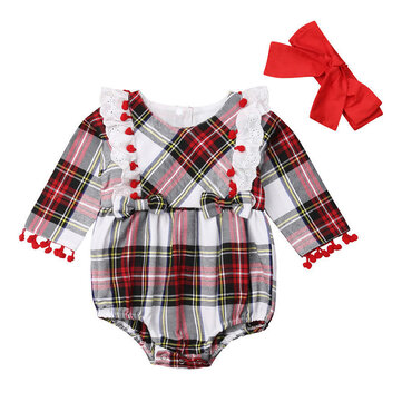 2PCs Baby Plaid Lace Rompers For 0-24M