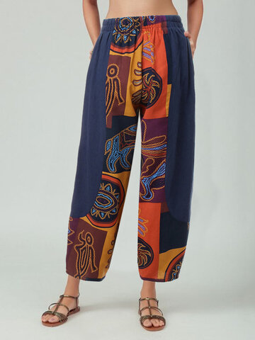Vintage Printed Patchwork Pants