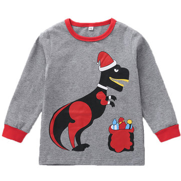 Toddler Christmas Dinosaur Tops For 3-11Y