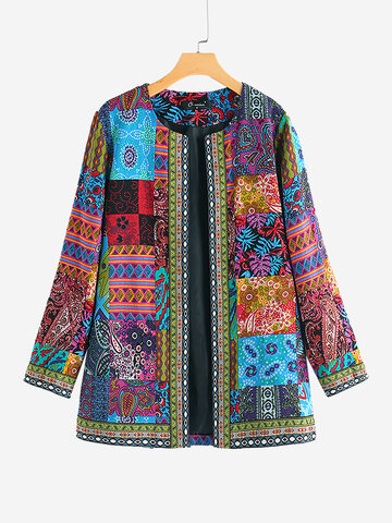 Ethnic Style Floral Print Jacket