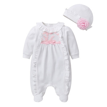 Baby Ruffle Flower Hat Jumpsuit For 0-24M