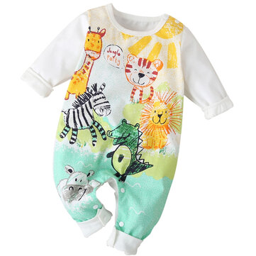 Baby Cartoon Print Rompers For 0-18M