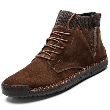 Men Camurça Hand Sticthing Splicing Botas casuais