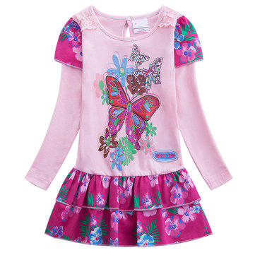 Girl Floral Butterfly Printed Dress For 1-11Y