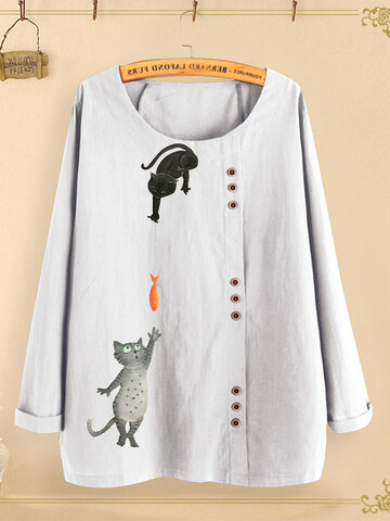 Button Cartoon Cat Print Blouse