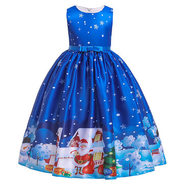 Girl's Christmas Cartoon Print Dress For 6-18Y