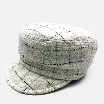Woolen Flat Top Hat Striped Plaid Fashion Beret Hat
