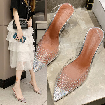 Europe And The United States Season Fairy Shoes Stiletto Sexy Thin Baotou Rhinestone Transparent Sandals And Slippers Stars With The Same Paragraph