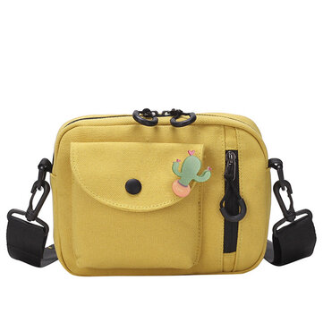 Ins Canvas Bag Messenger Bag Wild Day Small Bag Female New Tide Casual Shoulder Small Square Bag