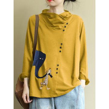 Print Button Casual Sweatshirt
