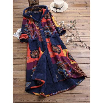 Casaco de inverno de lã de impressão vintage