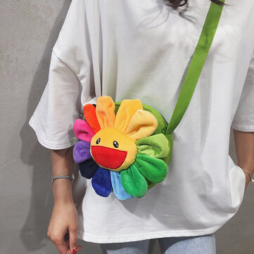 Bags Handbags New Personality Cute Sun Flower Shoulder Slung Small Round Bag Fashion Trend Wild Hit Color Packet
