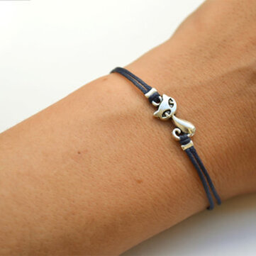 Alloy Cat Leather Bracelet