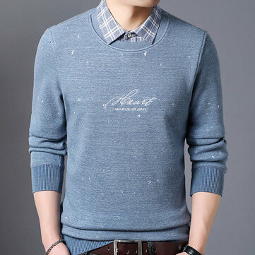 Winter New Men's Warm Shirt Men Plus Thickening Fake Two-piece Knit Top Casual Men's Shirt
