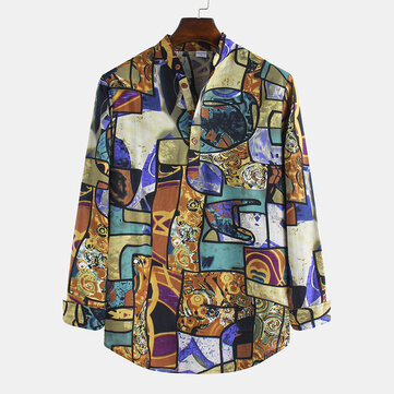 Mens Fashion Abstract Printing Henley-Shirt
