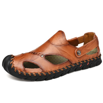 Men Hand Stitching Soft Sole Leather Sandals