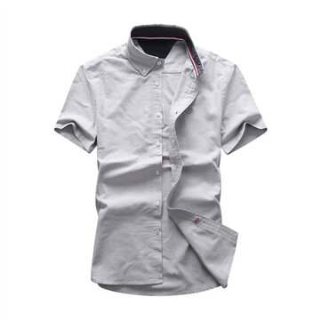 798163 Brand Shirt Men's Short Sleeve Loose Summer Korean Youth Inch Shirt Large Size Casual Shirt Men's Trend