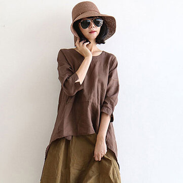 Season New Retro Art Large Size Women's Cotton Shirt Round Neck Sleeve Loose Loose Head Swallowtail Top