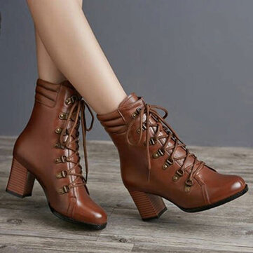 Large Size Warm Slip Resistant Lace Up Winter Short Boots