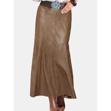 PU Leather High Waist Skirt