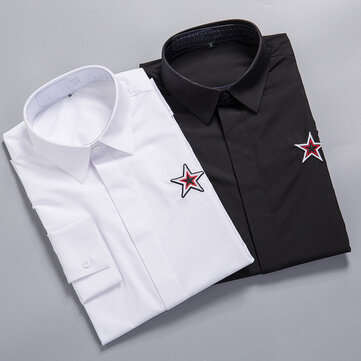 2018 Europe And The United States Big Brand New High-end Tide Brand Precision Five-pointed Star Embroidery Men's Long-sleeved Shirt Men's Shirt