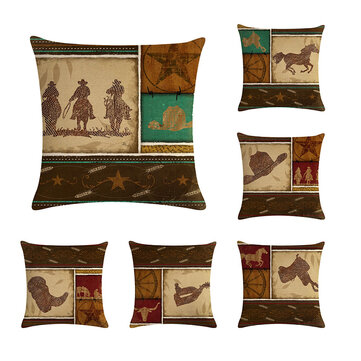 Vintage Western Cowboy Pattern Linen Throw Pillowcases