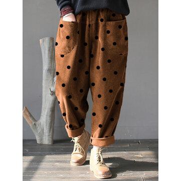Velluto a coste vintage a pois Pantaloni